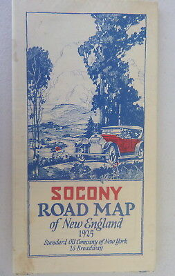 1925 New England road map Socony  oil  gas Mobil Standard New York