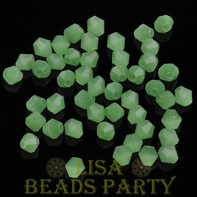 100pcs 4mm Bicone Faceted Crystal Glass Loose Spacer Beads Jade Light Green