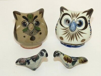 4 Vintage TONALA Mexican Folk POTTERY ORNAMENTS Owl + Parrot HAND PAINTED Signed