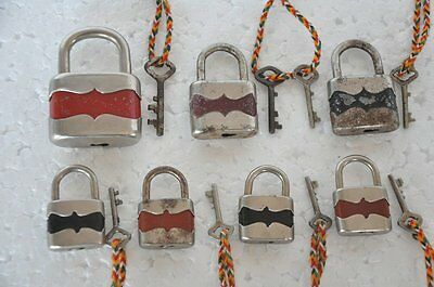 6 Pc Old Iron Handcrafted Unique Shape Colorful German Padlocks , Rich Patina