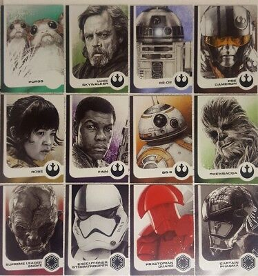 JOURNEY TO STAR WARS THE LAST JEDI Card set of 14 Illustrated Characters 1 - 14