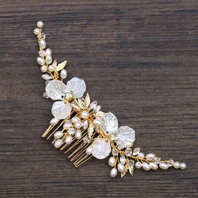Bride Hair Comb Pearl Floral Luxury Headwear Women Jewelry Wedding Decoration