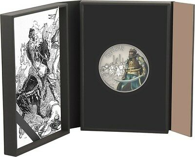 2017 Niue $2 Great Warriors - Ayyubids 1oz Antiqued Silver Coin (Some Scratches)