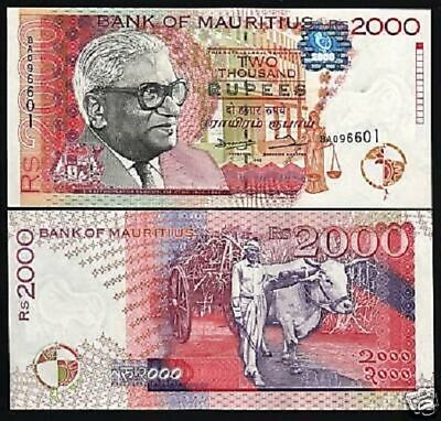 Mauritius 2000 Rupees P48 1998 *error Unc Ramgoolam Ox Currency Africa Bill Note