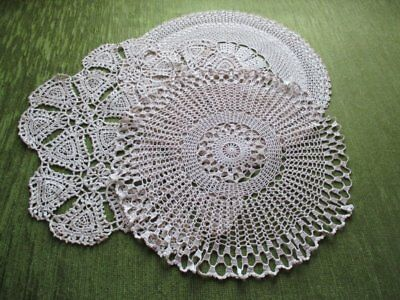 Vintage Round Table Centers Hand Crochet-Soft Ecru-Col. Of 3
