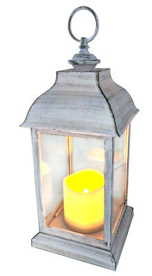 Outdoor LED White Hanging Lantern Flickering Candle Shabby Chic Wedding Garden