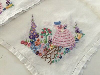 vintage hand embroidered linen tablecloth With Crinoline Ladies