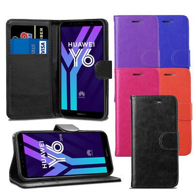 For Huawei Y6 2018 Case - Premium Leather Wallet Flip Case Pouch Cover + Screen