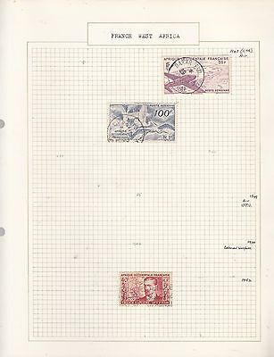FRENCH WEST AFRICA 1947-52  on Old Album Page removed for shipping