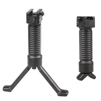 Black Tactical Vertical Fore Grip Folding Bipod Picatinny Rail Weaver Foregrip Z