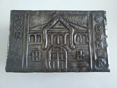 RARE ANTIQUE CROMER TOWN HALL THEATRE ARTS & CRAFTS PEWTER COVERED BOX 1890s