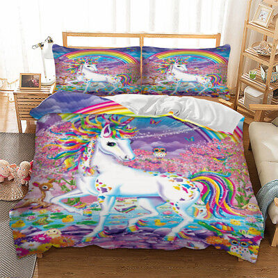 Unicorn Rainbow Duvet Quilt Doona Cover Set Single/Double/Queen/King Size Bed