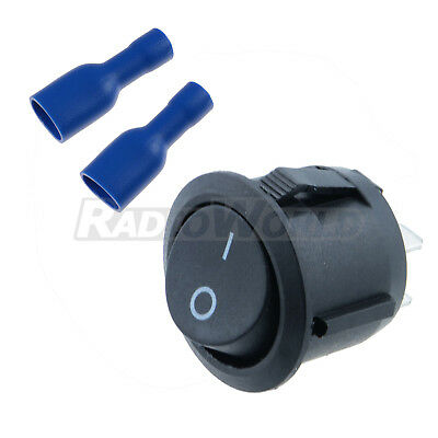 On/Off Round Rocker Switch + Female Crimp Spade Connectors for Car Van Boat 12V