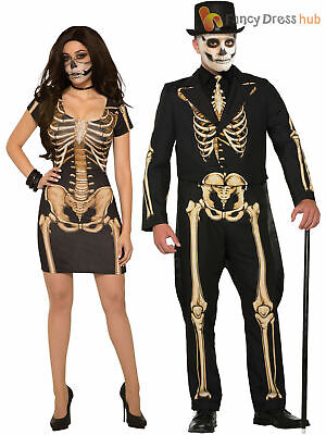 Mens Ladies Skeleton Costume Halloween Suit Dress Fancy Dress Outfit Couples