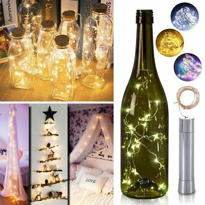 10/15/20LED Cork Shape Starry Fairy Light  1/2M Wine Bottle Night Lamp Xmas