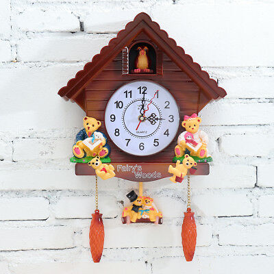 Antique Wooden Cuckoo Clock Bird Time Bell Swing Alarm Watch Wall Home Decor