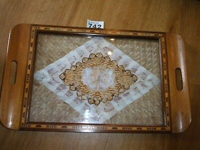 Vintage Serving Tray Butterfly Wing Inlaid Wooden  Tray