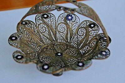 ANTIQUE Etruscan Filigree Russian/Chinese GILDED Silver/Copper Enamel Basket 4.5