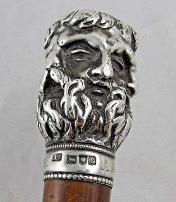 Rare Victorian Solid Silver Handled 6 Faced Greek God Walking Cane / Stick 1896