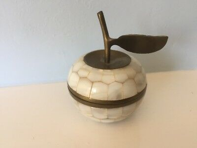 Vintage Mother Of Pearl Nacre Brass Apple Trinket Box VGC