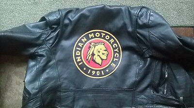 """Indian Motorcycles 10"""" synthetic leather back patch. NICE!! NEW"""