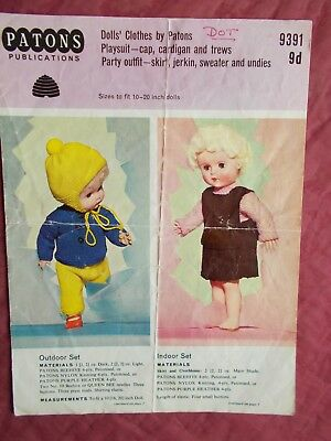 "Vintage Doll's Clothes Knitting Pattern 10-20"" Dolls 4 Ply"