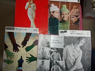 5 Vintage  Knitting  Patterns  - Gloves, Hats, Jackets  ,  Etc,