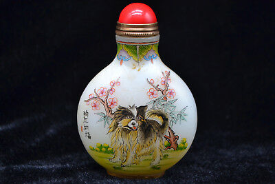 Antique old Chinese Coloured Glaze relief bird fruit rare vintage Snuff Bottle