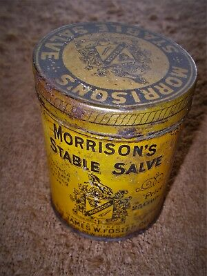 "1908 Morrison's Stable Salve Tin by The James M. Foster Co Bath, NH  2 1/2"" Tall"