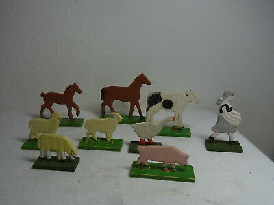 9 Vintage German Fretwork Hand Painted Toy Farm Animal #BE