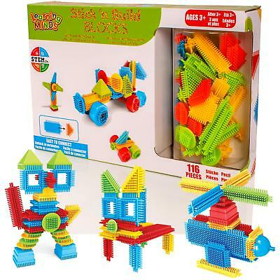 Childrens 116pc Bristle Building Blocks Stacking Construction Bricks Stickle Toy