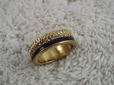 Goldtone Rhinestone Black Band Ring ~ Size 6.5 (C16)