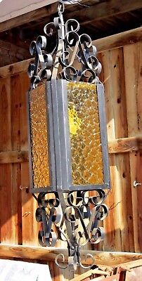 GIANT Vintage GOTHIC Amber Wave Glass Hanging chandelier Lamp Light Wrought Iron