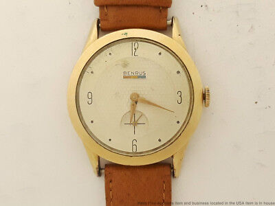 1940s Vintage Art Deco Mens Benrus 17J Wristwatch Round  to Fix
