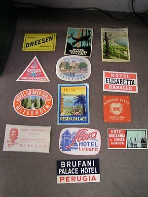 Nice Lot of 13 Different Mostly Italy Old Hotel Tourist Travel Luggage Label's
