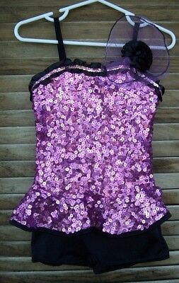 Curtain Call Costumes~CXS~purple sequin tap dance costume with hair piece~XS~