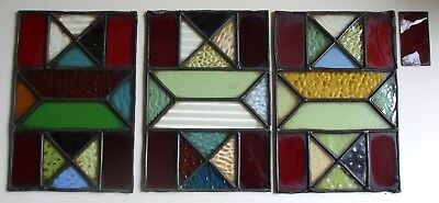 3 x ORIGINAL ANTIQUE LEADED GLASS LANTERN PANELS / RECLAIMED