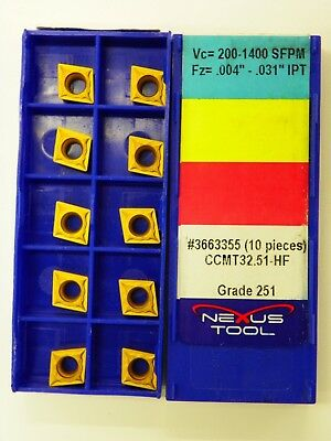 20pc NEXUS CARBIDE INSERTS, CCMT 32.51-HF 251 Indexable Coated Tips Bits   A026