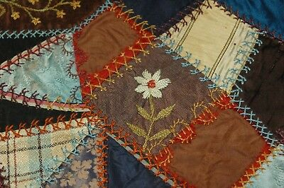 Antique Crazy Quilt Section Flowers Embroidered Stitching Study P11