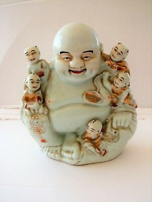 Vintage Chinese Porcelain Laughing Buddha With Five Children Large Figure Gilt