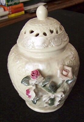 3-D roses leaves ribbon off-white ceramic lidded canister potpourri cracked
