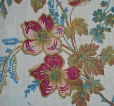 EXQUISITE MID 19th CENTURY FRENCH BLOCK PRINT LINEN & COTTON INDIENNE c1850