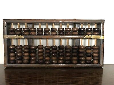 Antique heavy 13 rod Chinese Abacus quality hard wood with two brass rods