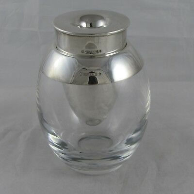 Unusual Sterling Silver And Glass Decorative Candle Holder Edinburgh 1999