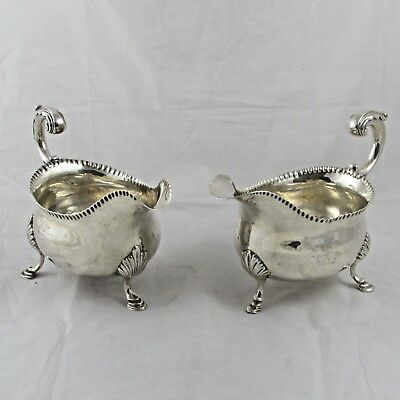 RARE GEORGIAN GEORGE III SOLID SILVER NEAR PAIR OF SAUCE/GRAVY BOATS 1768/9 585g