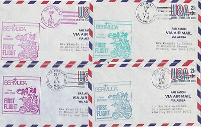 1975 SEP 8th 4 x DIFF USA TO BERMUDA FIRST FLIGHT COVERS AMERICAN AIRLINES FFC