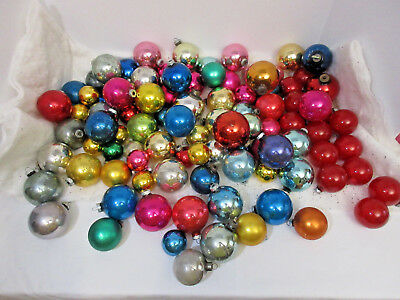 Lot Of 98-Vintage Shiny Brite-Usa Glass Christmas Ornaments -Mixed Colors