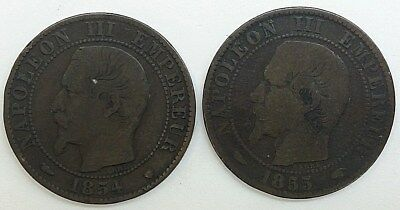 LOT of (2) Cinq 5 Centimes France Coins, Napoleon III Empereur 1854 W and 1855 A