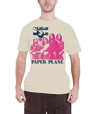 Status Quo T Shirt Paper Plane Group Shot Band Logo Official Mens New Beige