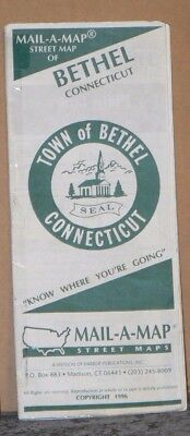 1996 Mail-A-Map Street City Map of Bethel Connecticut w/Local Ads